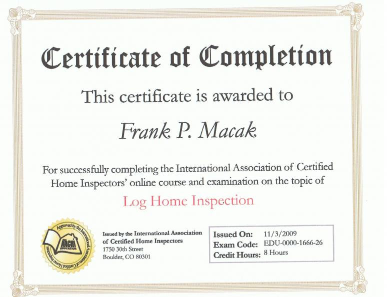 Log home certificate